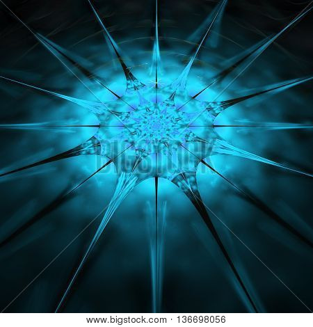 Abstract glowing mandala on blurred background. Symmetrical pattern in bright blue colors. Fantasy fractal design.