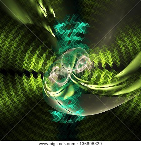 Colorful glowing green swirl on black background. Fantasy fractal design for greeting cards or t-shirts.
