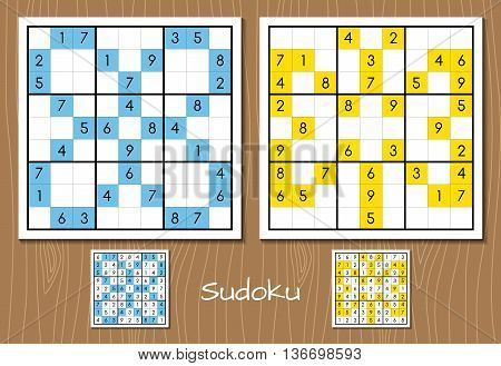 Color sudoku puzzle vector set with answers