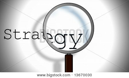 Strategy business concept with magnifying glass