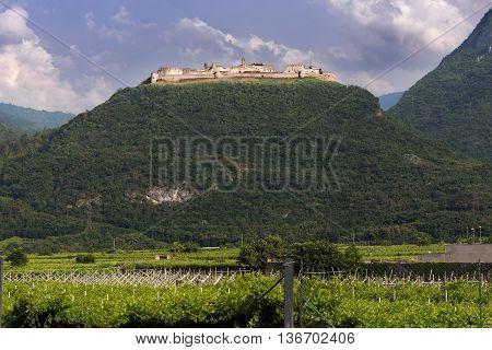 Beseno castle (Castello di Beseno) in Besenello Trentino Alto Adige. It is the largest fortified structure in the Trentino-Alto Adige Italy. XII century