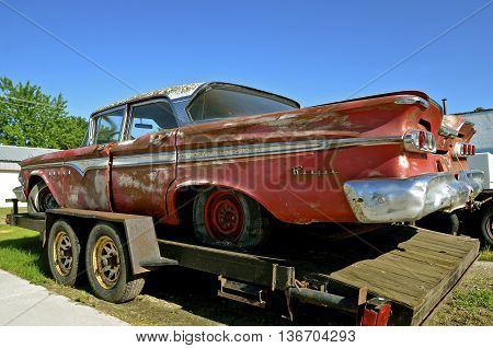 HILLSBORO, NORTH DAKOTA,  June 15, 2016: The crinkled and rusty body of an old Edsel car is a product of  is a product of the Ford Motor Company located in Dearborn, Michigan started by Henry Ford and incorporated on June 16, 1903.