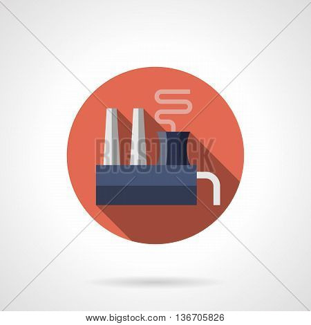 Chemical manufacture and processing of raw materials. Enterprise of chemical industry. Factories and industrial facilities. Round flat color style vector icon.