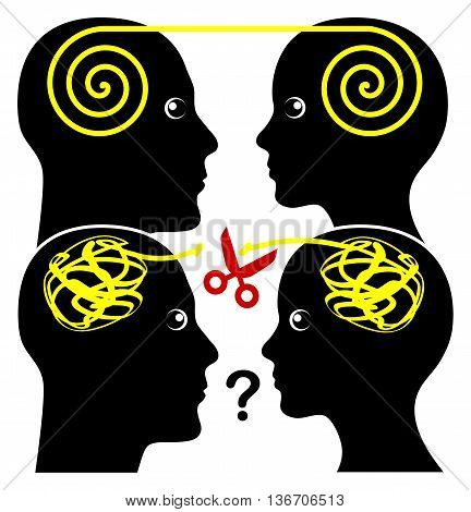 Effective and Ineffective Communication. Concept sign of a harmonious understanding and a confusion misunderstanding between couple