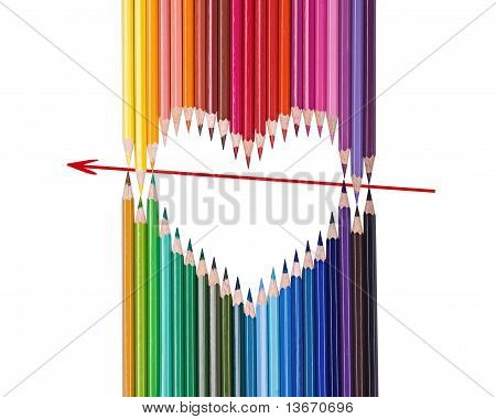 Multi-colored Heart And Arrow From Pencils