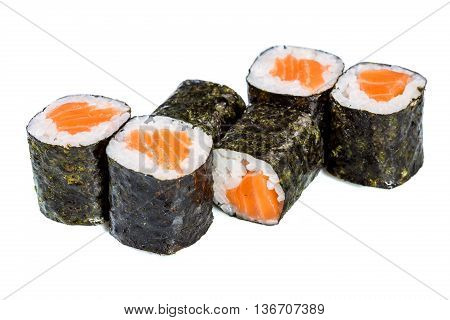 Sushi (roll Syake Maki) On A White Background