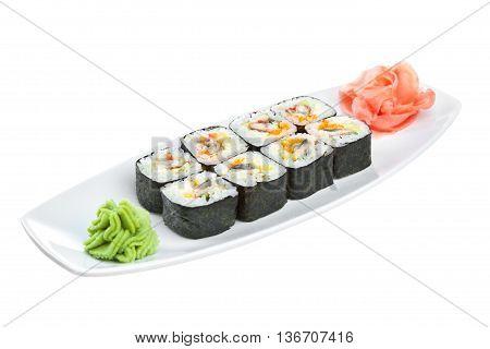 Sushi (roll Unagi Maki) On A White Background
