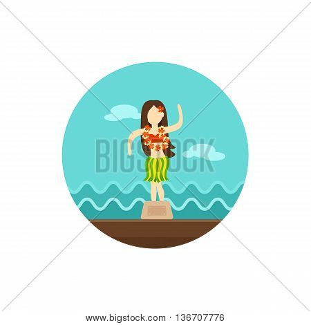 Hula Dancer Statuette vector icon. Summer. Summertime. Holiday. Vacation eps 10