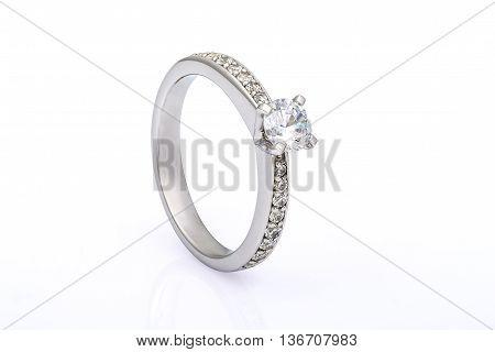 White gold wedding engagement ring on white background