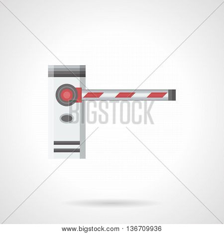 Classic automatic striped barrier. Security equipment for checkpoints, road block, parking entry and others. Flat color style vector icon.
