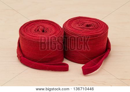 Sports equipment for boxing. Boxing bandages on light background