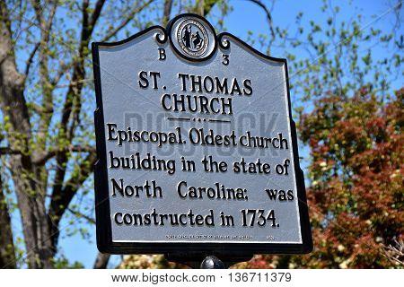 Bath North Carolina - April 25 2016: State historic sign at 1734 St. Thomas Episcopal Church