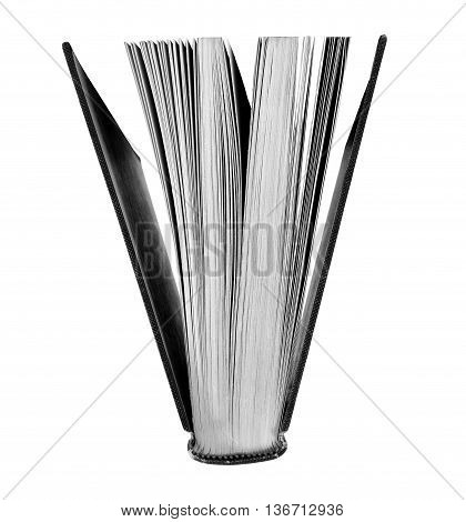 Open book in black and white on a white background