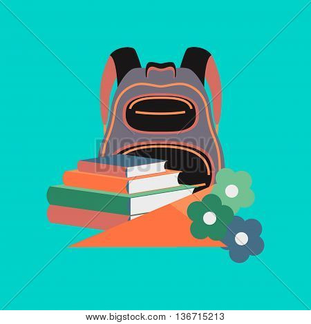 flat icon on stylish background school book bag flowers