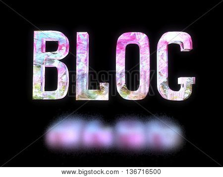 3D-illustration of the word blog with bulk translucent pink letters transmitted light hanging on a black background and pink reflection on black surface