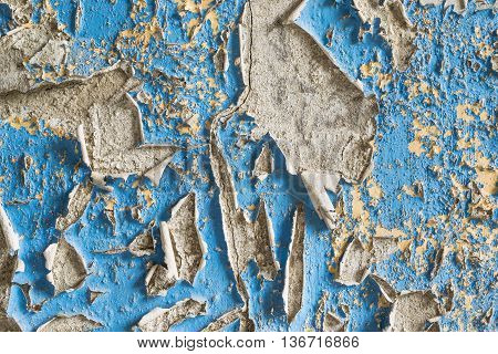 Cracked and Peeling Blue Paint Wall Texture