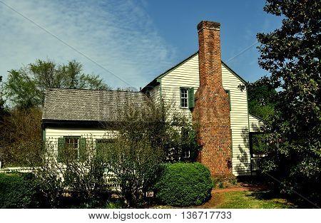 Hillsborough North Carolina - April 20 2016: 1790 Home of Quaker Alexander Dixon now the town visitor center
