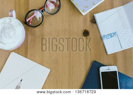 Top View Of  Working Woman's Items, Workspace With Essential Items Of Business Woman