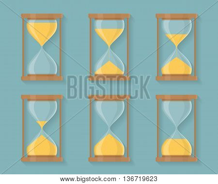 Transparent sandglass icons set, time hourglass, sandclock, flat design, vector eps10 illustration