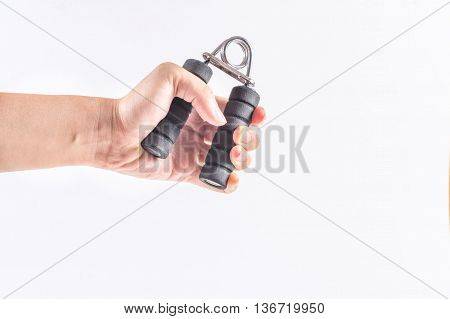 The man's hand handle with handgrip, white background