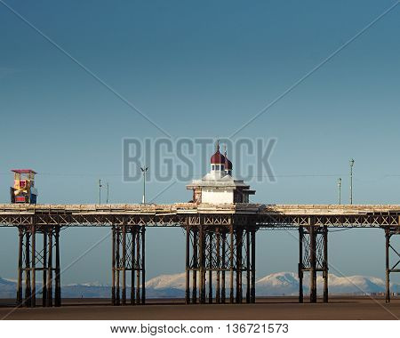 North pier at Blackpool UK with Cumbrian mountains