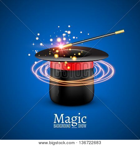 Magic Hat with Magic wand. Vector Magician perfomance. Wizzard show background.