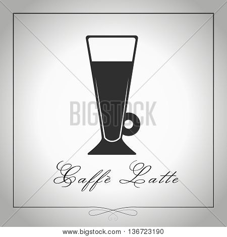 Cafe au lait or Caffe latte silhouette. High glass coffee. Graphic illustration. Isolated vector.