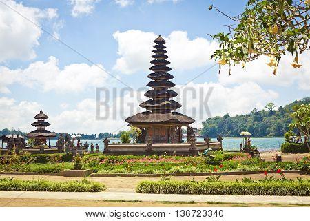 Ulun Danu Temple complex at Lake Bratan in Bedugul, Bali, Indonesia
