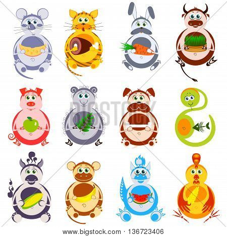 Fat funny animals with their favorite food. Decorative heroes of Chinese horoscope isolation on a white background.