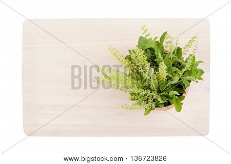 Top View Part Of Holy Basil Pile On Cutting Board
