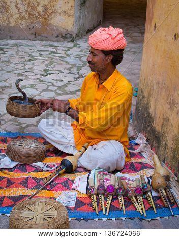 Snake Charmer In Amber Fort ,jaipur, India.