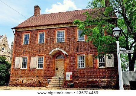 Old Salem North Carolina - April 21 2016: 1802 Doctor Samuel Benjamin Vierling House (The Doctor's House) on Church Street  *
