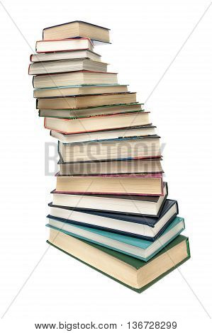 stack of books closeup isolated on white background. vertical photo.