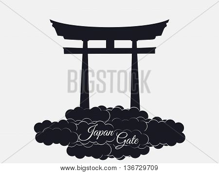 Japan Gate Isolated On White Background, Torii Gate, Japanese Gate. Torii Gate In The Clouds. Symbol