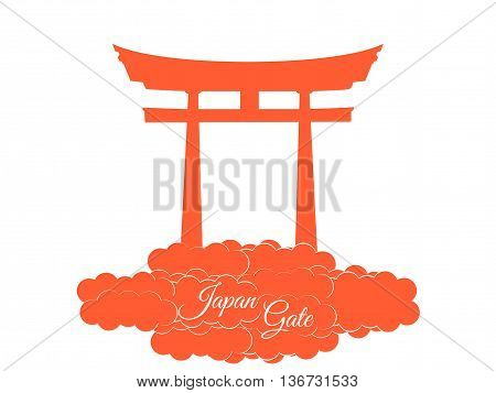 Japan gate isolated on white background torii gate japanese gate. Torii gate in the clouds. Symbol Japan.