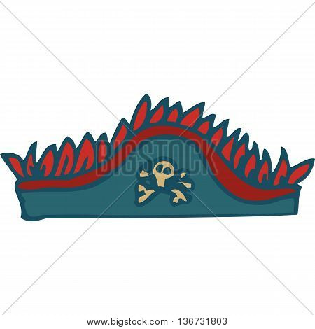Gray Hat. Pirate Tricorn. Isolated on a White