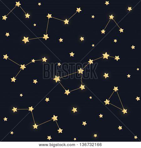 Constellations seamless pattern. Golden stars on dark night sky background.
