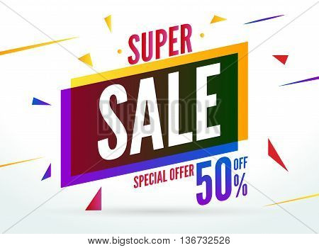 Super Sale special offer. 50 off discount baner. Vector promotion market banner for Sale.