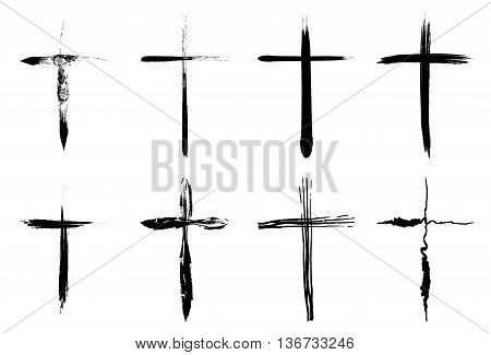 Hand drawn crosses collection isolated over white background. Vector crosses illustration set