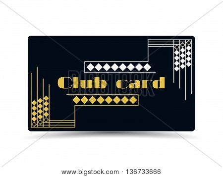 Club card in art deco style. Art deco frame. Retro style background card.