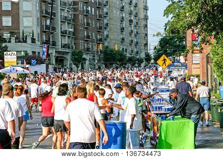 ATLANTA GEORGIA - July 4 2015: Participants in the Peachtree Road Race - The largest 10k race in the world held every year on July 4th since 1972