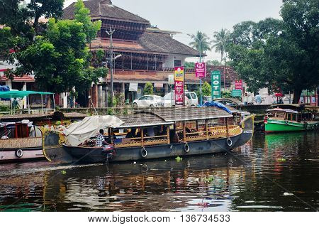 Traditional Indian Boats In Alleppey