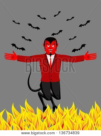 Red Devil In Hell. Funny Demon And Bat. Satan With Horns. Crafty Mephistopheles. Diablo Prince Of Da