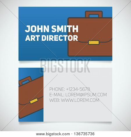 Business card print template with briefcase logo. Businessman. Diplomat. Stationery design concept. Vector illustration
