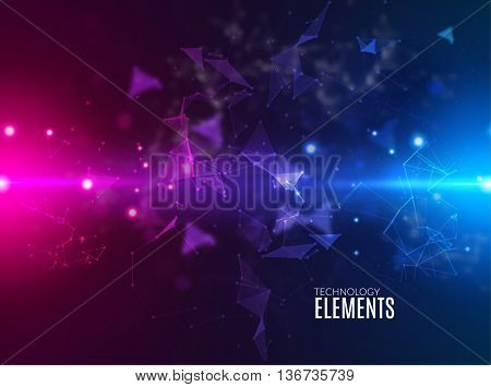 Abstract polygonal techno background. Futuristic style card. Business presentations. Lines, point, planes in 3d space. Cybernetic dots, creative banner