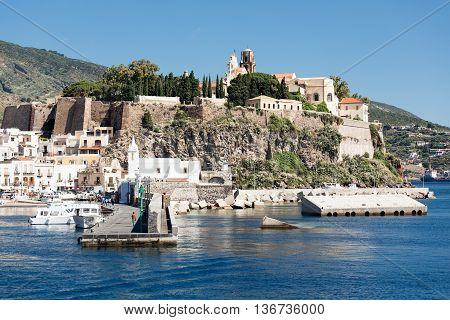 Harbor view of Lipari Aeolian islands near Sicily Italy