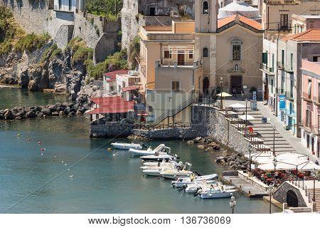 LIPARI ITALY - MAY 24: Aerial view of Lipari Harbor on May 24 2016 at Aeolian Islands near Sicily Italy