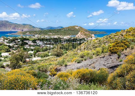 Aerial view of Vulcano one of the Aeolian Islands near Sicily Italy