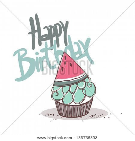 watermelon cupcake, happy birthday card