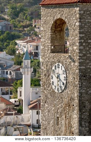 Minaret village Ulcinj and Clock Tower, Montenegro poster